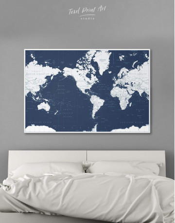 Map On Blue Background Canvas Wall Art - image 1