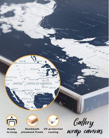 Map On Blue Background Canvas Wall Art - image 6
