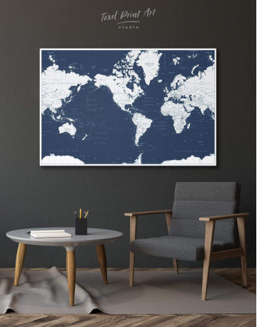 Map On Blue Background Canvas Wall Art