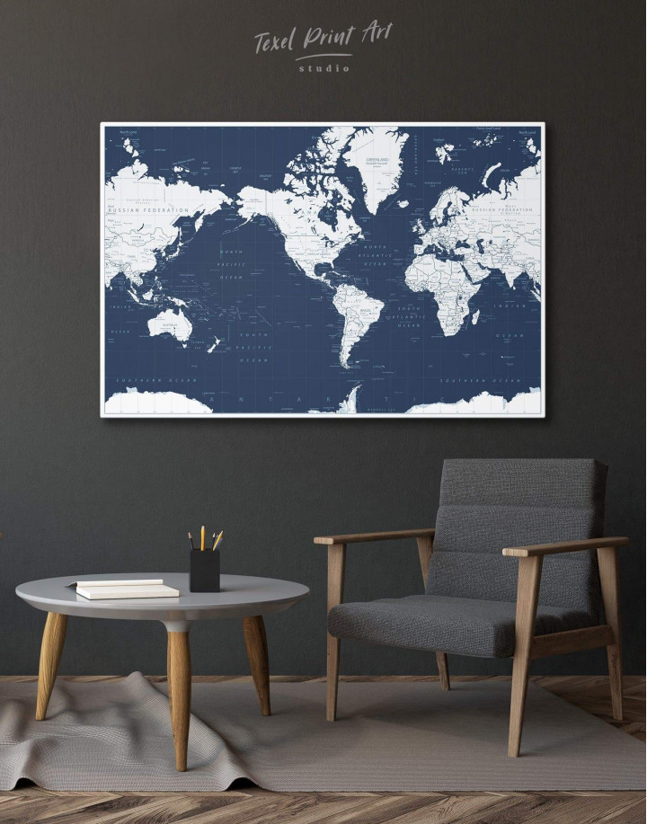 Map On Blue Background Canvas Wall Art - Image 0