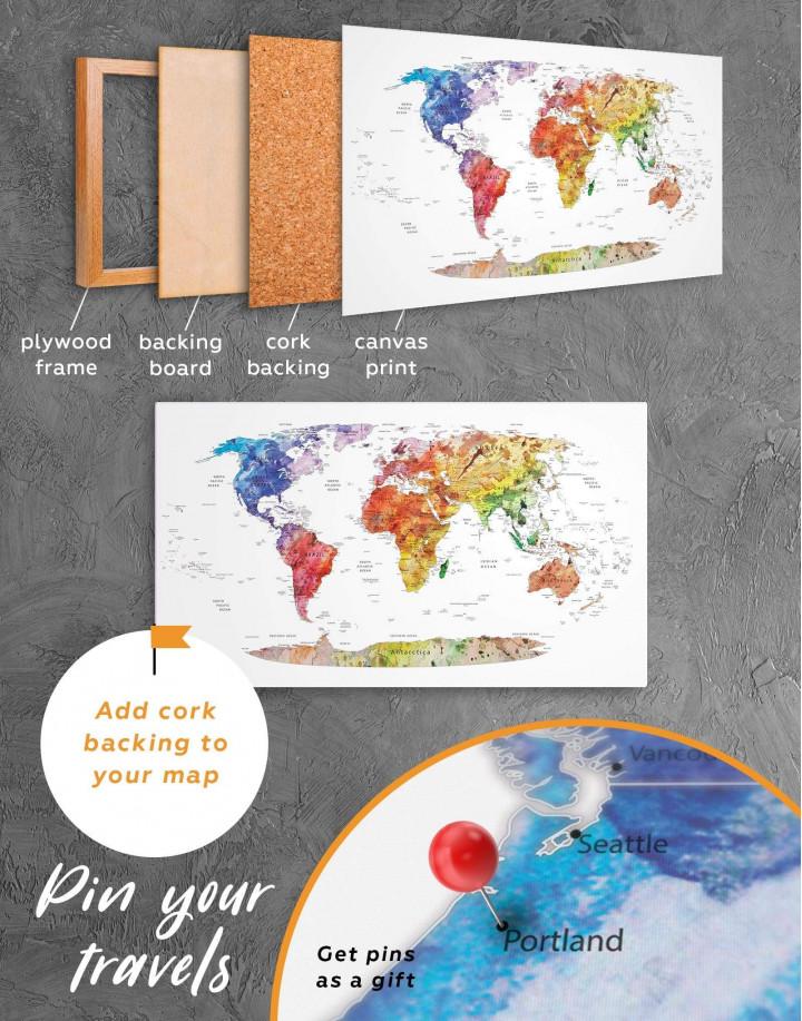 Watercolor Travel Map Canvas Wall Art - Image 3