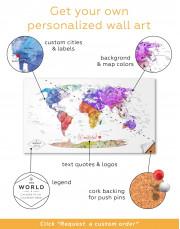 Watercolor Travel Map Canvas Wall Art - Image 2