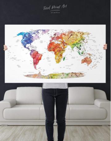 Watercolor Travel Map Canvas Wall Art - image 1