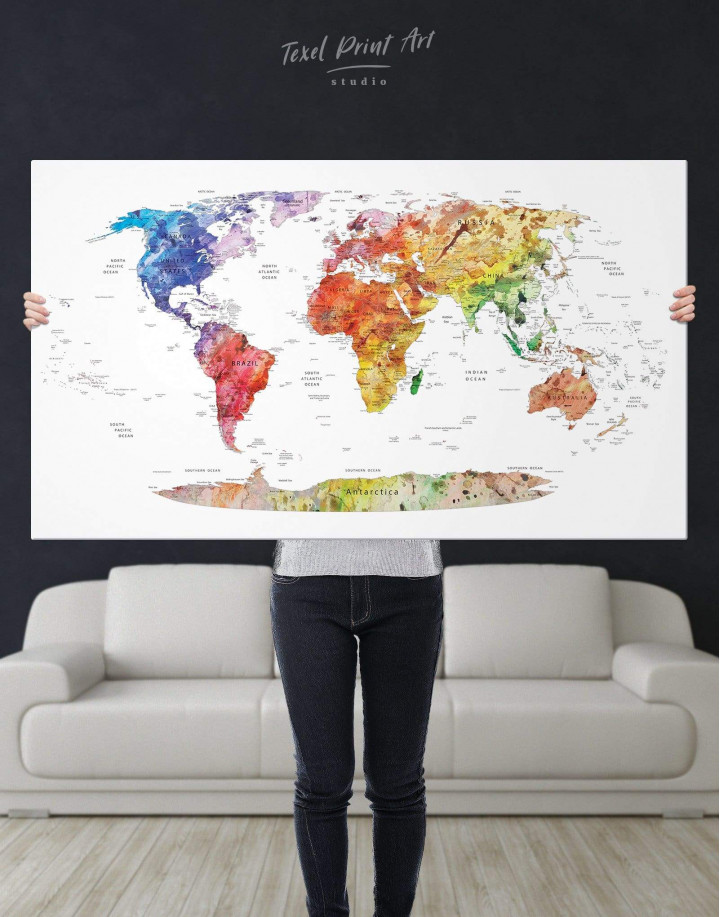 Watercolor Travel Map Canvas Wall Art - Image 6