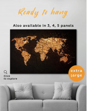 Abstract Golden Map Canvas Wall Art - Image 0