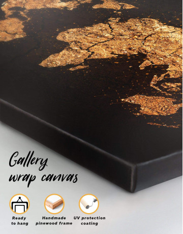 Abstract Golden Map Canvas Wall Art - image 1