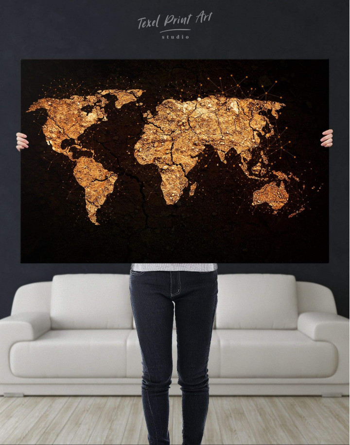 Abstract Golden Map Canvas Wall Art - Image 2
