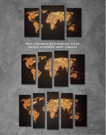 Abstract Golden Map Canvas Wall Art - image 4