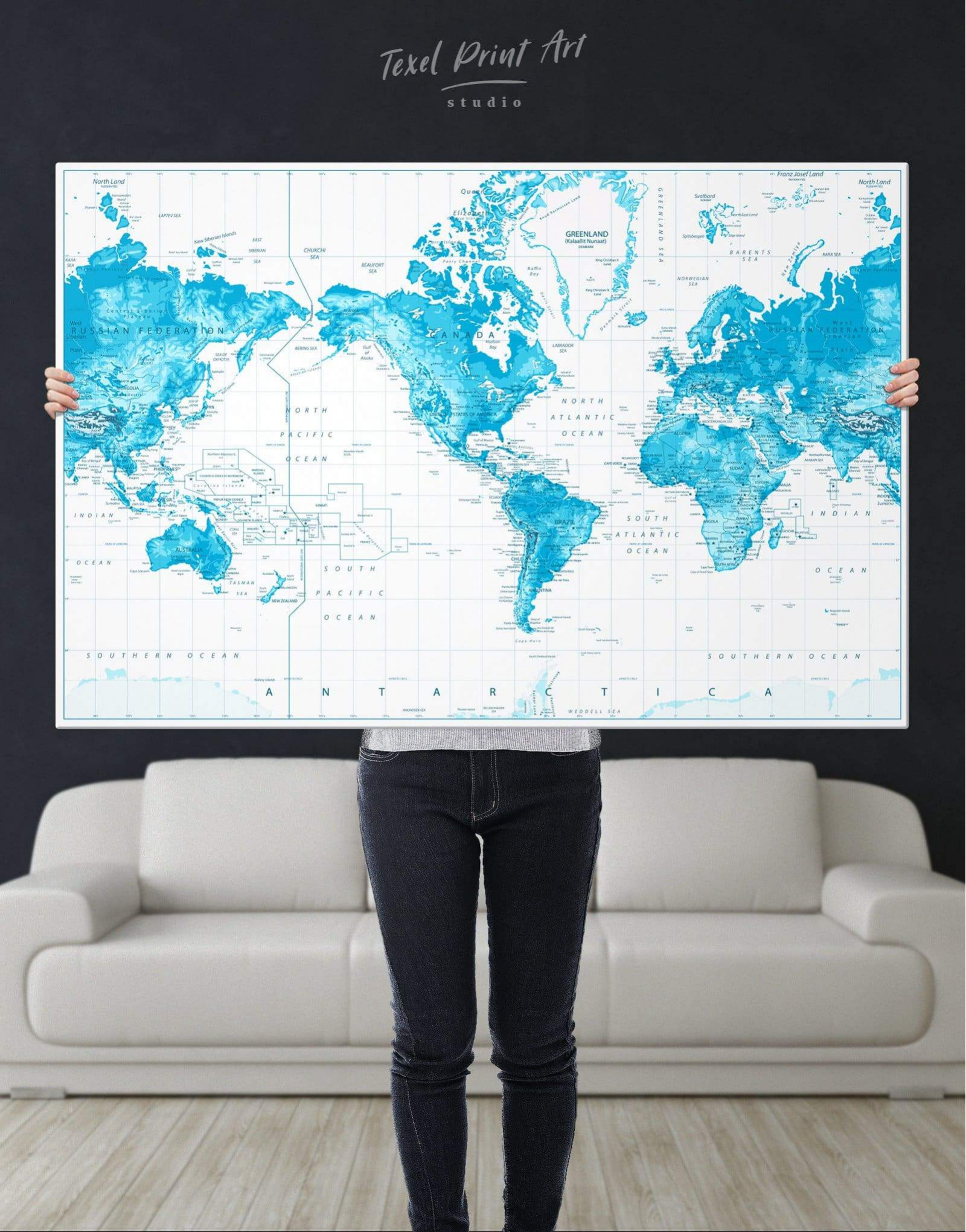 Light Blue World Map With Pins Canvas Wall Art Texelprintart