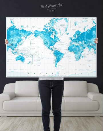 Light Blue World Map with Pins Canvas Wall Art - image 5
