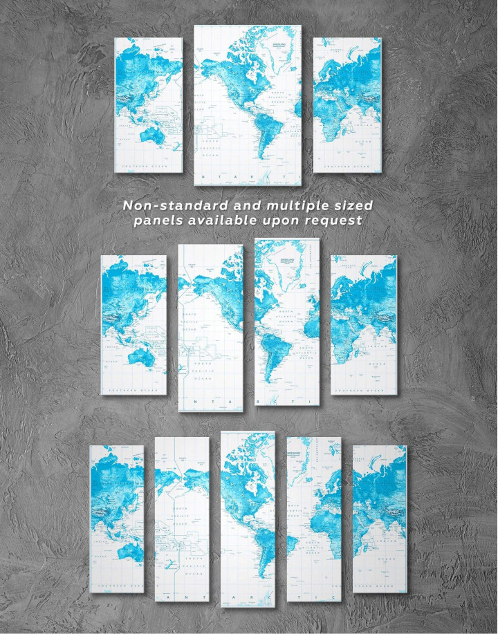 Light Blue World Map with Pins Canvas Wall Art - Image 1