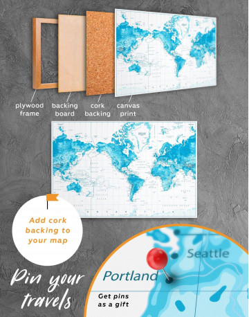 Light Blue World Map with Pins Canvas Wall Art - image 3