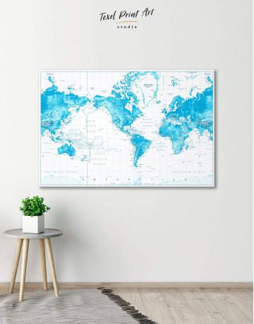 Light Blue World Map with Pins Canvas Wall Art