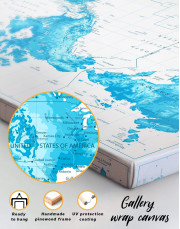 Light Blue World Map with Pins Canvas Wall Art - Image 6