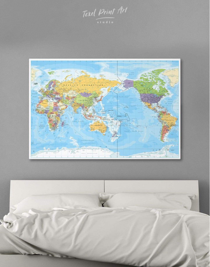 Detailed World Map Canvas Wall Art - Image 0