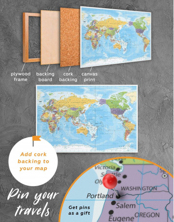 Detailed World Map Canvas Wall Art - image 2