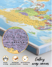 Detailed World Map Canvas Wall Art - Image 6
