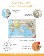 Detailed World Map Canvas Wall Art - Image 4