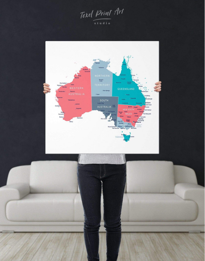 Australia Map Canvas Wall Art - Image 2