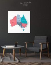 Australia Map Canvas Wall Art - Image 3