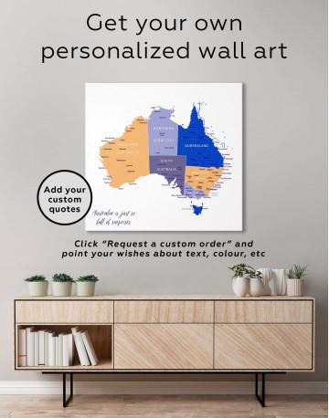 Australia Map Canvas Wall Art - image 1