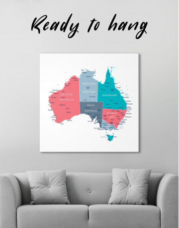 Australia Map Canvas Wall Art