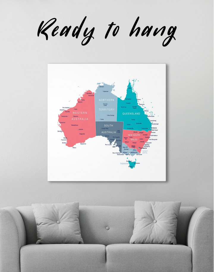 Australia Map Canvas Wall Art - Image 0