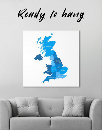 Map of Great Britain Canvas Wall Art
