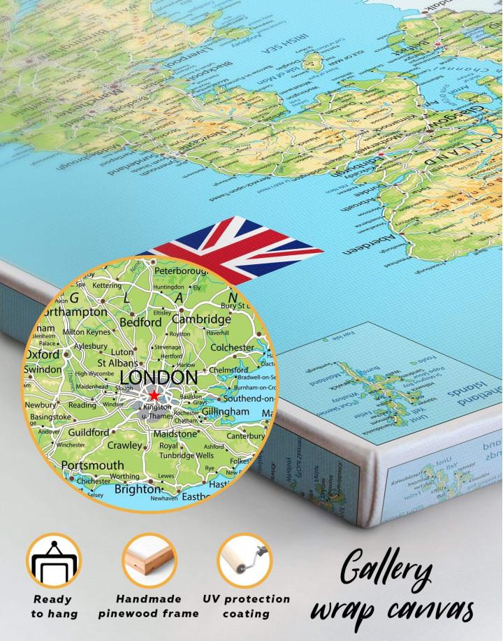 Great Britain Push Pin Map Canvas Wall Art - Image 4