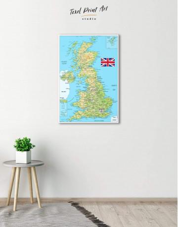 Great Britain Push Pin Map Canvas Wall Art - image 2