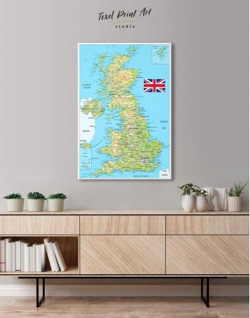 Great Britain Push Pin Map Canvas Wall Art