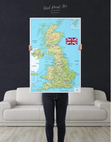 Great Britain Push Pin Map Canvas Wall Art - image 3