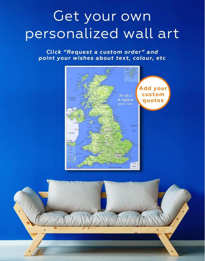 Great Britain Push Pin Map Canvas Wall Art - Image 1