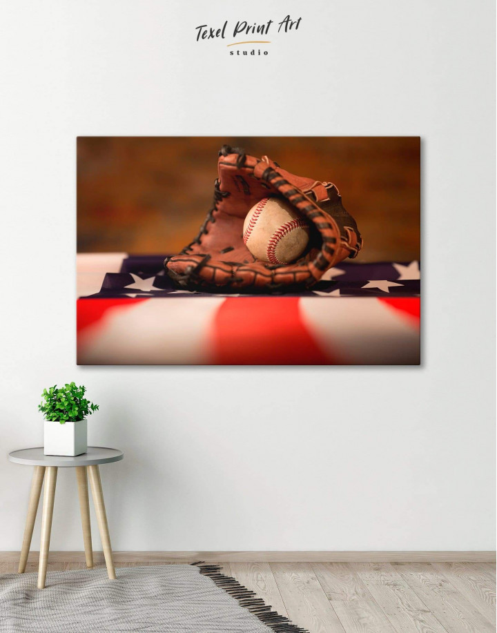 Baseball With American Flag Canvas Wall Art - Image 0