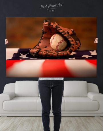 Baseball With American Flag Canvas Wall Art - image 4