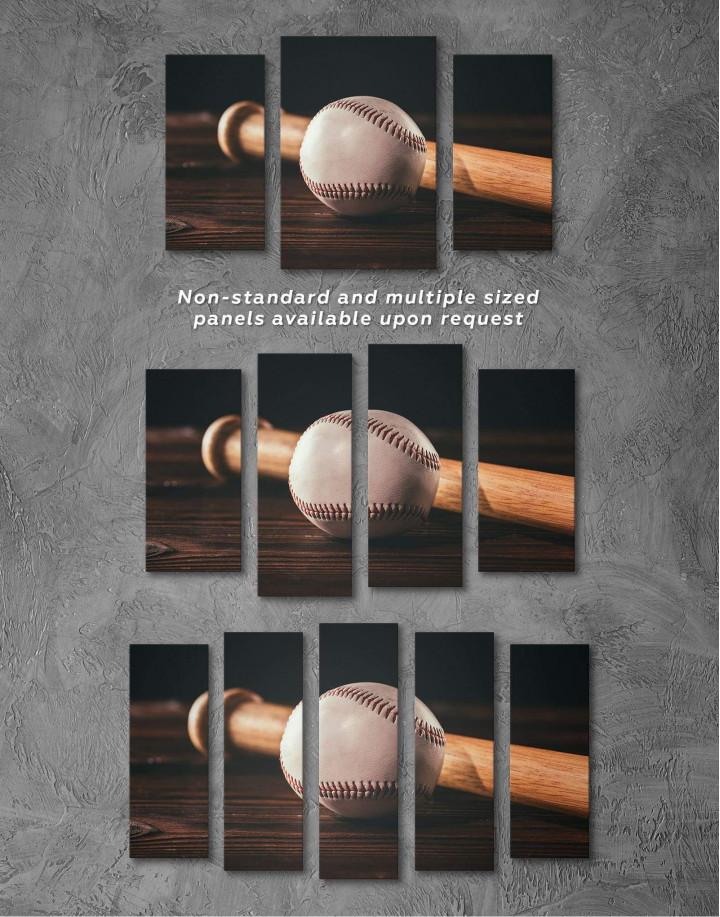 Ball and Bat Baseball Canvas Wall Art - Image 2