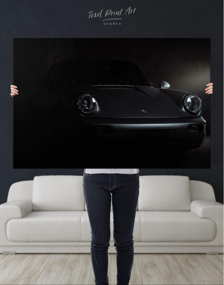 Silver Porsche 964 Canvas Wall Art - Image 4