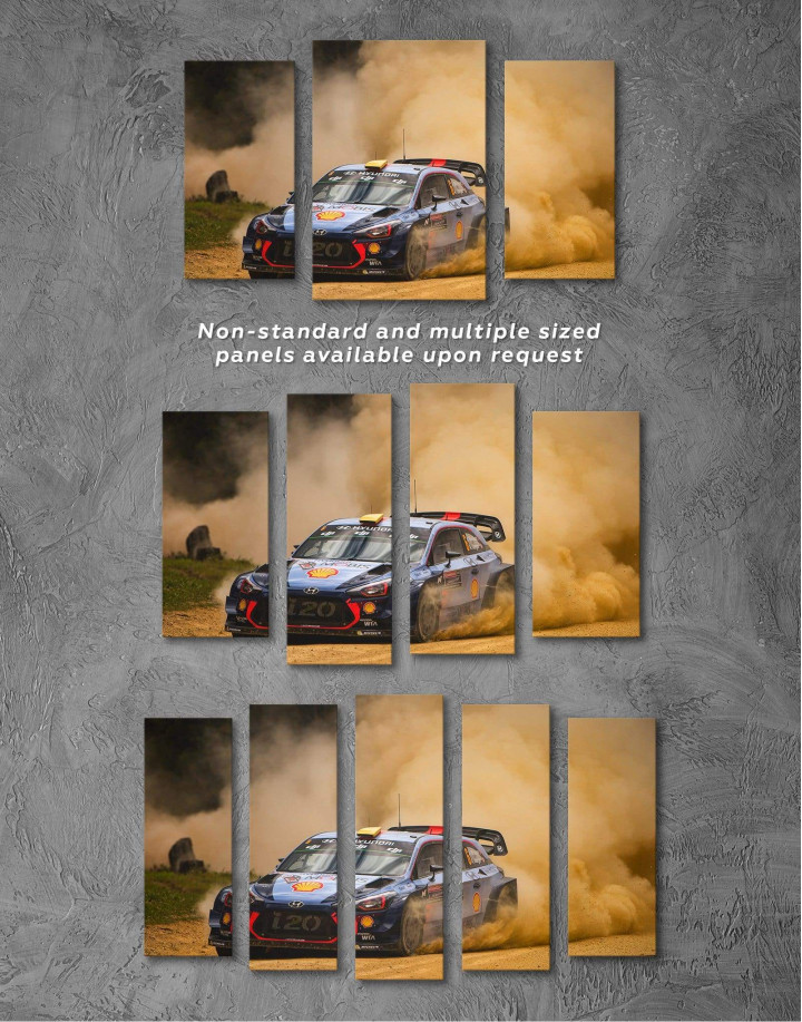 Hyundai i20 WRC in a Golden Dust Canvas Wall Art - Image 2