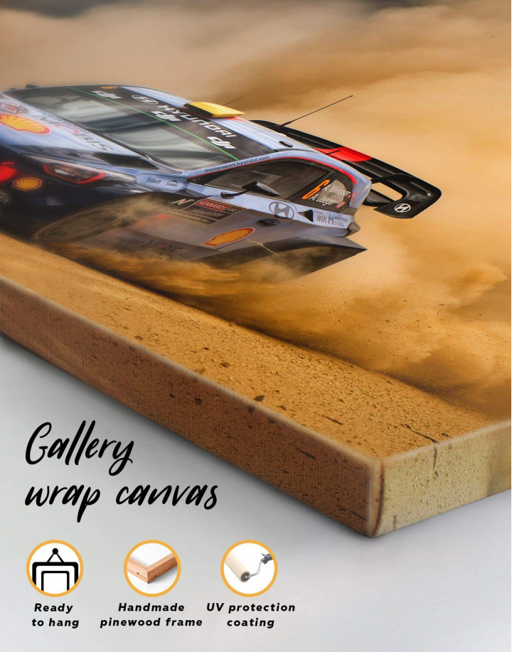 Hyundai i20 WRC in a Golden Dust Canvas Wall Art - Image 5