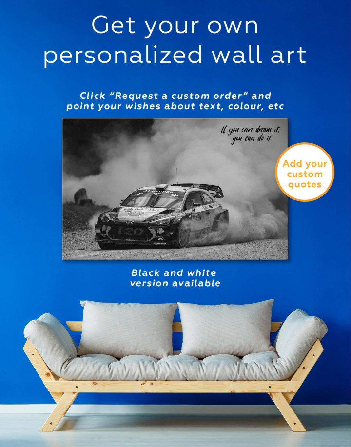 Hyundai i20 WRC in a Golden Dust Canvas Wall Art - Image 1