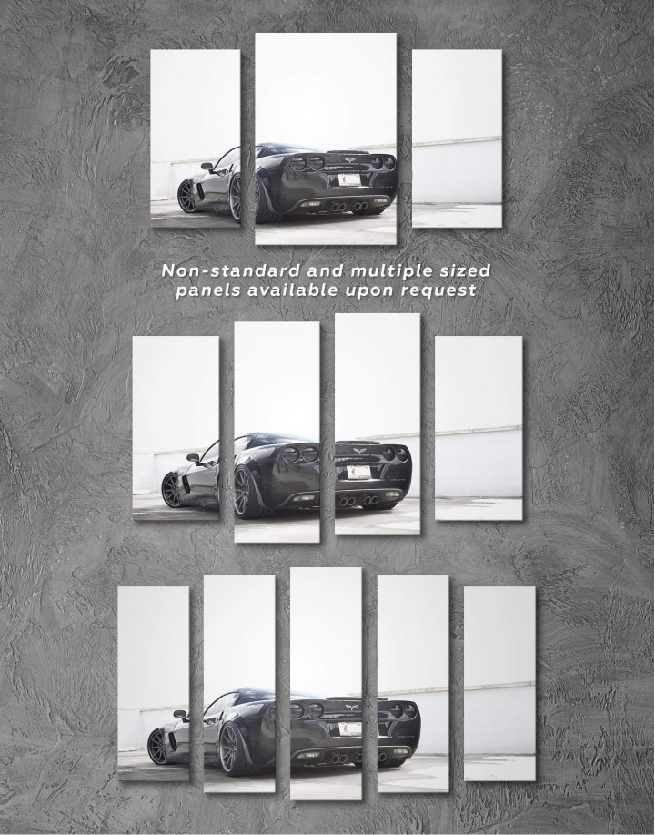 Black Chevrolet Corvette Z06 Canvas Wall Art - Image 4