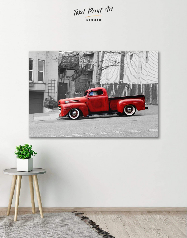 Red Pickup Truck Canvas Wall Art - Image 0