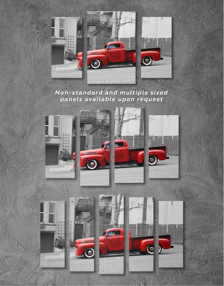 Red Pickup Truck Canvas Wall Art - Image 2