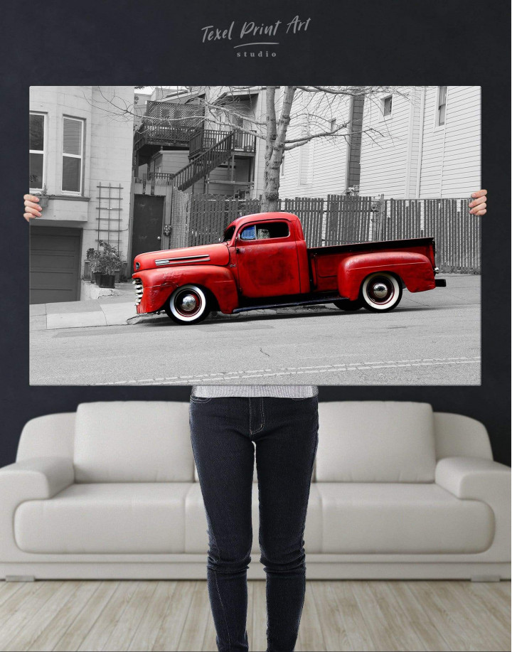 Red Pickup Truck Canvas Wall Art - Image 4