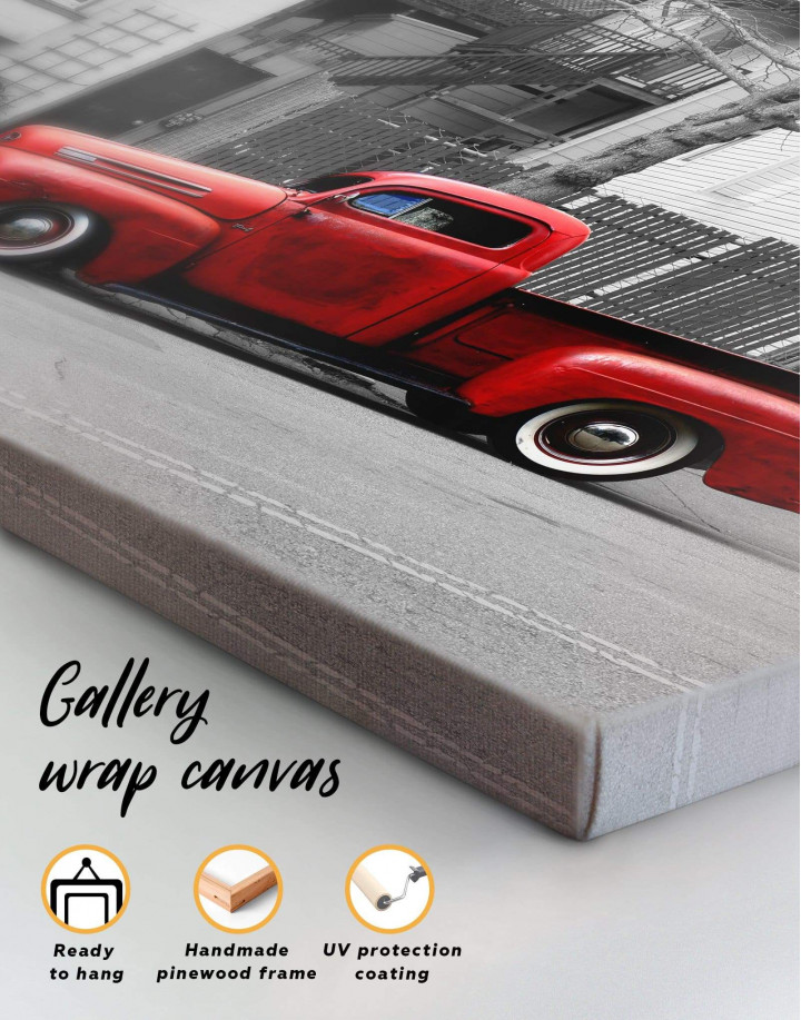 Red Pickup Truck Canvas Wall Art - Image 5