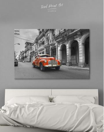 Red Retro Car Canvas Wall Art