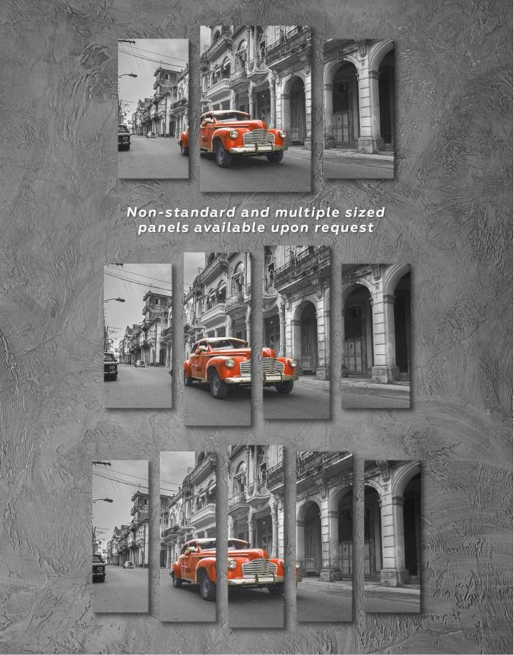 Red Retro Car Canvas Wall Art - Image 2