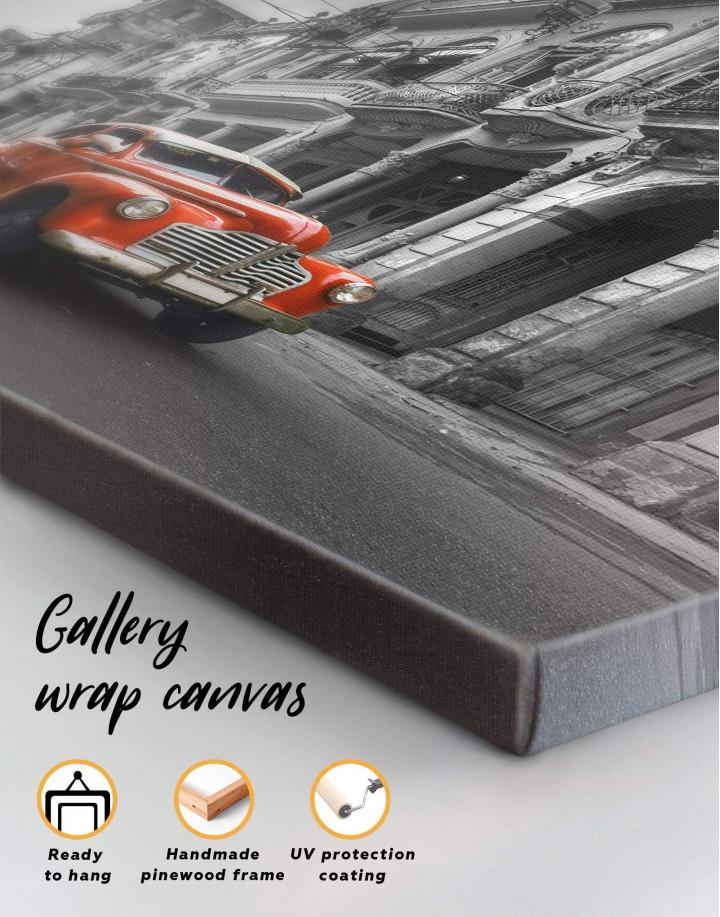 Red Retro Car Canvas Wall Art - Image 5
