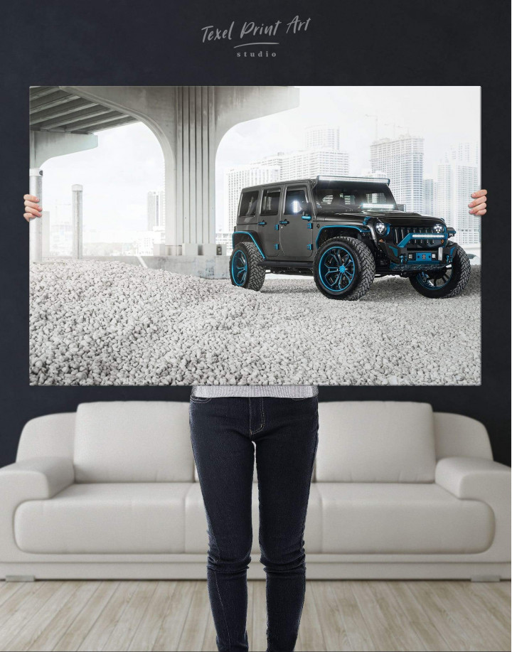 Black Jeep Wrangler Canvas Wall Art - Image 4