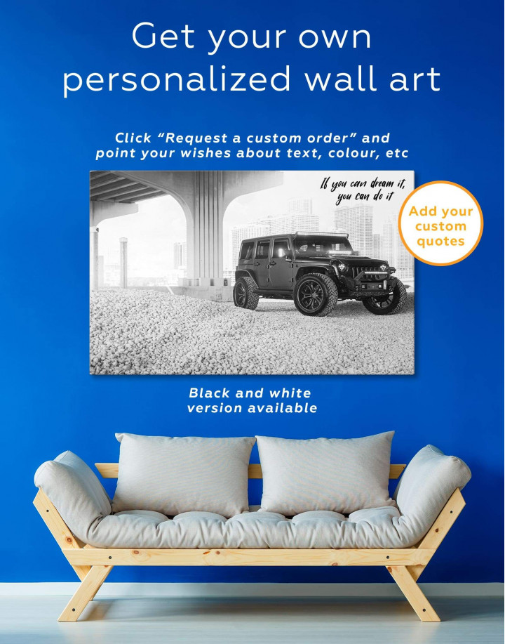 Black Jeep Wrangler Canvas Wall Art - Image 1
